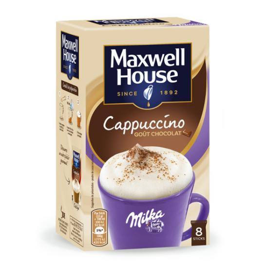 Cappuccino goût choco Milka - Maxwell House - Sticks solubles (x8)